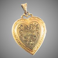 Large Gold Filled Heart Locket Chased Inscribed Eve Hayward