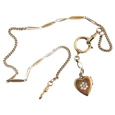 Victorian Gold Filled Paste Heart Locket Long Pocket Watch Chain Bolt Ring Necklace