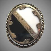 Victorian Mourning Hair Locket Brooch Memorial Pin Spinner Onyx Chalcedony