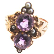 Victorian Amethyst Pearl 14K Gold Ostby Barton Double Ring