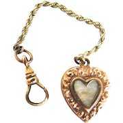 Victorian Mother Of Pearl Heart Charm Fob Watch Chain Dog Clip Gold Filled