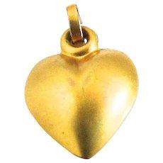 10K Gold Victorian Puffy Heart Charm