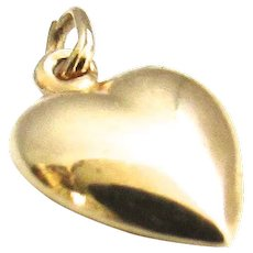 14K Yellow Gold Puffy Heart Charm Pendant