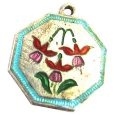 TLM Thomas L Mott Enamel Fuchsia Charm July Flower Sterling Silver