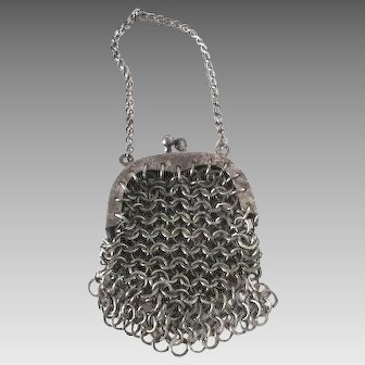 Antique Gun Metal Chain Mail Mesh Coin Purse