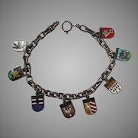 Vintage Enamel 835 Silver Germany Souvenir Charm Bracelet