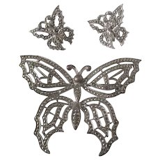 Art Deco Sterling Silver Marcasite Butterfly Demi Parure Brooch Earrings Butterflies