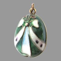 Vintage Sterling Silver Enamel Russian Easter Egg Charm Faberge Style
