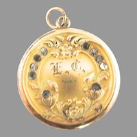 Art Nouveau Paste Gold Filled Locket Monogram EC Edwardian