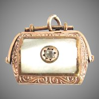 Victorian Mother Of Pearl Spinner Fob Gypsy Paste Star  Hardstone
