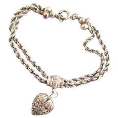 Victorian Sterling Silver Puffy Heart Slide Charm Bracelet