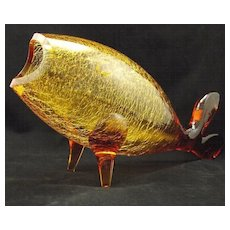 Blenko 971-L Crackle Gold Honey Amber Fish designed by Winslow Anderson