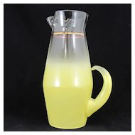 Blendo Glass Barware Pitcher Lemon Yellow 1950s Vintage