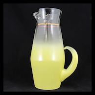 Blendo Glass Barware Pitcher Lemon Yellow 1950s Vintage