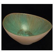 "Harris Strong ""Potters Of Wall Street"" Biomorphic Turquoise Bowl 'B-55' Scandinavian Modern Design"