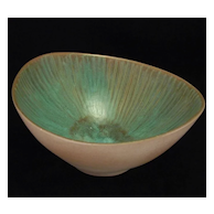 "Harris Strong ""Potters Of Wall Street"" Biomorphic Turquoise Bowl 'B-55' Scandinavian Modern Design"