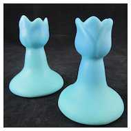 "Van Briggle Tulip Candleholders Pair 'Ming Turquoise' 3-3/4"""