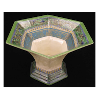 Antique Royal Doulton Hex Trumpet Vase -Polychrome Enamel & Transfer Decorated Jardiniere