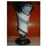 Westmoreland Glass Footed Vase Purple Marble 'slag'
