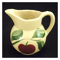 Pottery Watt Pottery Yelloware small pitcher #62 handpainted apple with 3 leaf stem