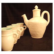 Leslie Winfield Sample 1929-35 Porcelain Chocolate Pot & 4 cups