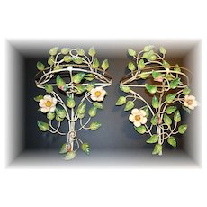 Gorgeous Wild ROSE TOLEWARE Wall Shelves tole