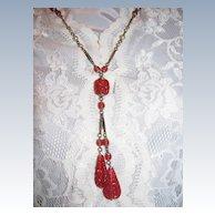 Art Deco Era Carved Carnelian Glass Lariat Necklace