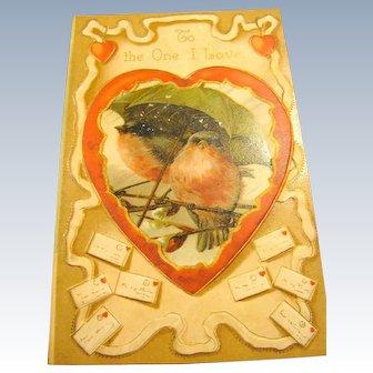 Darling Embossed Bird Valentine Postcard