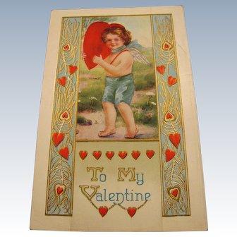 Embossed Angel Boy Valentine Postcard Whitney