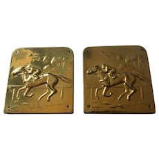 Vintage Brass Plate Racehorse Book Ends