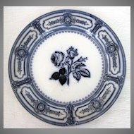 Early Ironstone Flow Blue Plates With Roses
