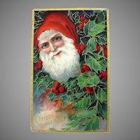 Embossed Santa In Holly Postcard