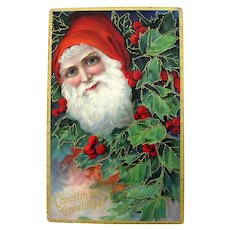 Embossed Santa In Holly Postcard