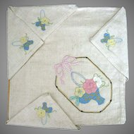 Hand Appliqued And Embroidered Tablecloth And Napkins