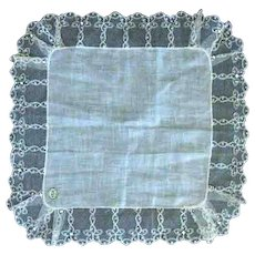 Wedding Hanky With Desco Lace And Rhinestones
