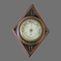 Aneroid Barometer Carved Oak Case