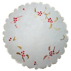 Society Silk Doily-Doilie Holly and Berries