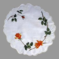 Society Silk Centerpiece Doily Orange Roses