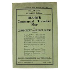 Blum's 1918-1919 Edition Connecticut and Rhode Island Commercial Travelers Map
