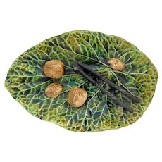 Palissy Majolica Leaf With Nut Cracker And Nuts