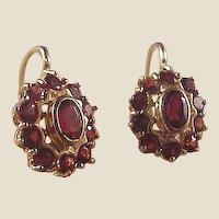Lovely 18k Garnet Earrings/Leverbacks