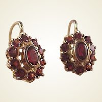 Lovely 18k Garnet Earrings/Leverbacks