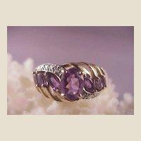 Pretty 10k Amethyst/Diamond Ring/Size 7