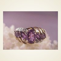 Pretty 10k Amethyst/Diamond Ring/Size 7