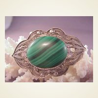 Beautiful Vintage Chinese Filigree Silver Pin/Malachite