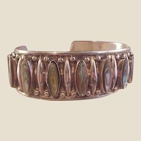 Nice Vintage Sterling and Abalone Cuff Bracelet