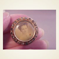 Vintage Photo Pin GF/Blue Stones