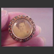 Vintage Photo Pin GF/Blue Stones