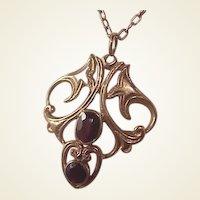 Lovely English 9k Garnet Pendant/Chain
