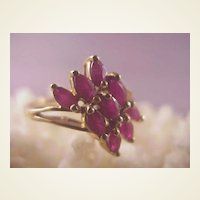 Pretty 10k  Multi Ruby Ring./ size 6